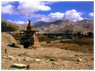 Budhist prayer tomb, Tibet travel